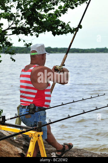 Reeling in line stock photos reeling in line stock for Lake hefner fishing