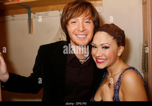 Oct 03, 2006; Manhattan, New York, USA; 2003 American Idol runner-up CLAY AIKEN visits singer DIANA DEGARMO backstage - Stock Image