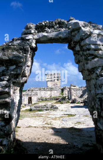 tulum MaYA walled city Riviera Maya Cancun  mexico - Stock Image