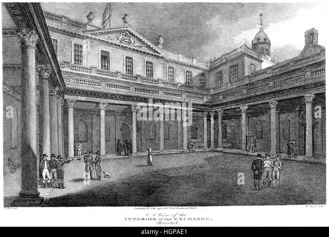 An engraving of A View of the Interior of the Exchange, Bristol in 1808 scanned at high resolution from a book printed - Stock Image