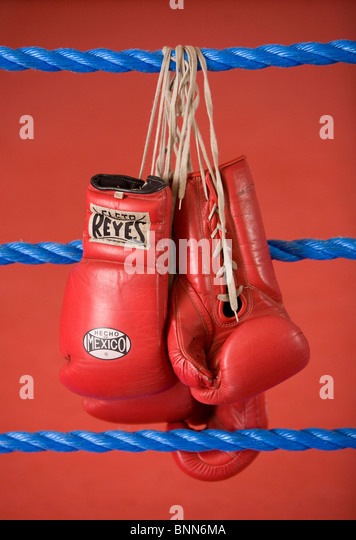 Red Boxing Gloves hang on the ropes of a boxing Ring.Picture by James Boardman - Stock Image