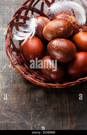 Easter eggs on wooden background - Stock Image