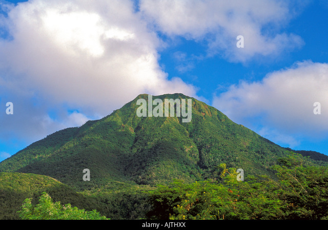 Mount Nevis peak, Caribbean, green volcano crater, clear day, blue sky background, Island of Nevis, St Kitts and - Stock Image