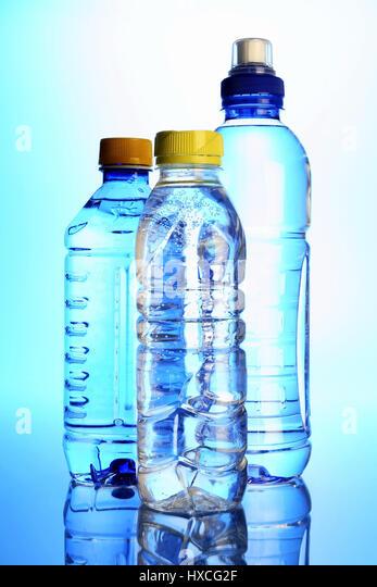 Bottles with mineral water, Flaschen mit Mineralwasser - Stock-Bilder