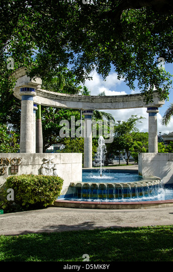 Classical-style fountain in Independence Square, Bridgetown, Barbados - Stock Image