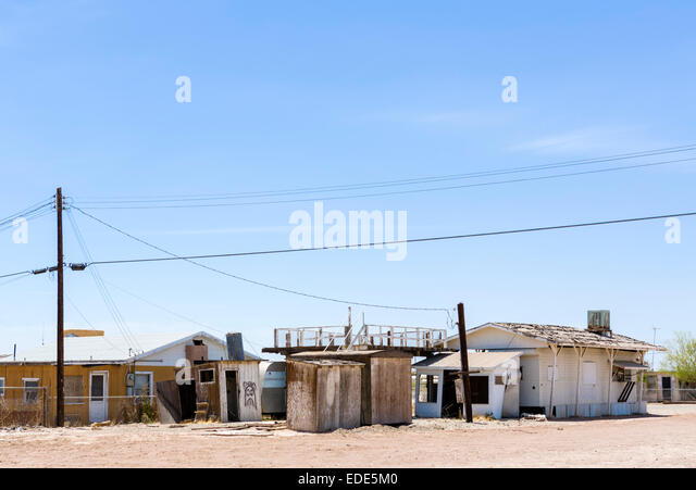 Homes at Bombay Beach on the Salton Sea, Imperial County, California, USA - Stock Image