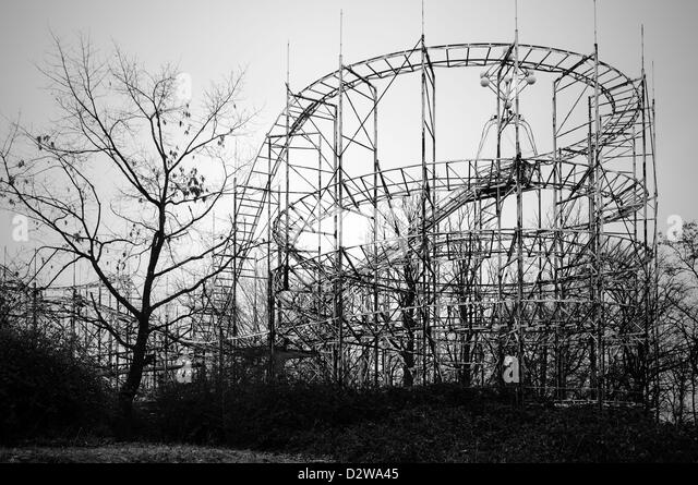 Abandoned fun fair. Roller coaster - Stock Image