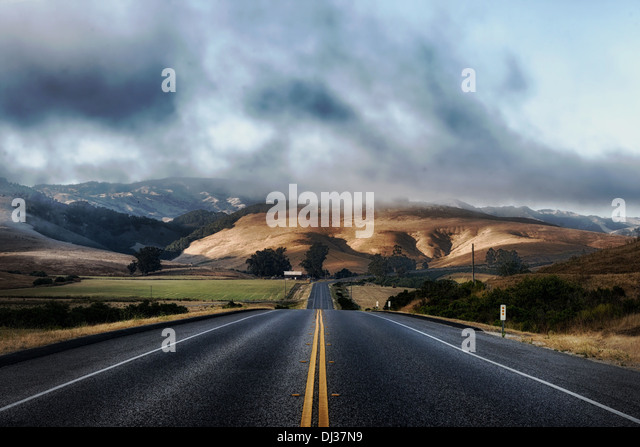 california road highway mountains landscape scenic - Stock Image