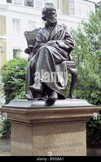 Statue of Thomas Carlyle, Cheyne Walk Chelsea. - Stock-Bilder