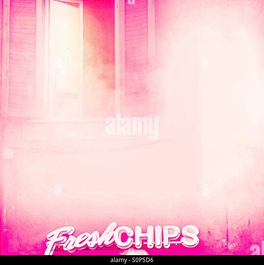 Pink sunlit fog - Stock-Bilder
