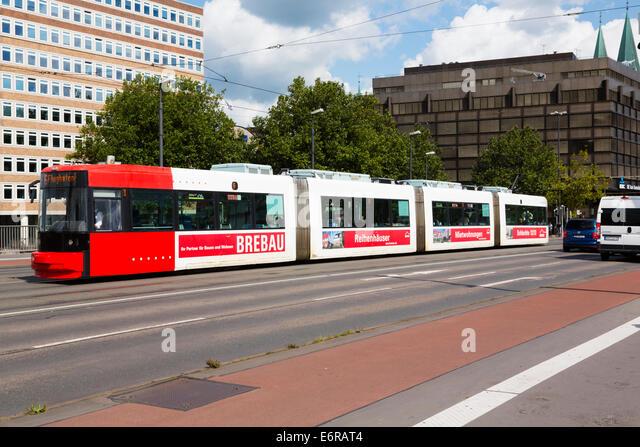 Tram in central Bremen. - Stock Image