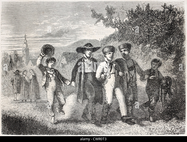 Old illustrations of boys having a walk togheter - Stock Image