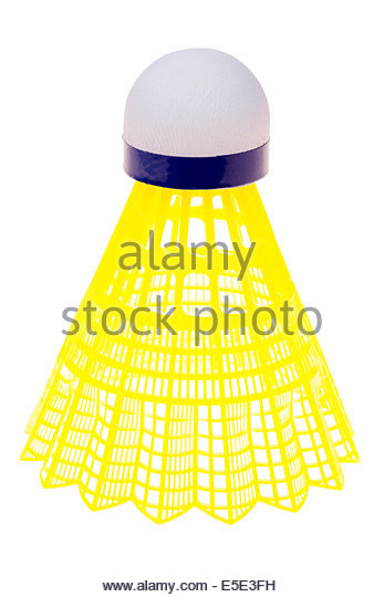 Badminton shuttlecock cut out or isolated against a white background. - Stock Image