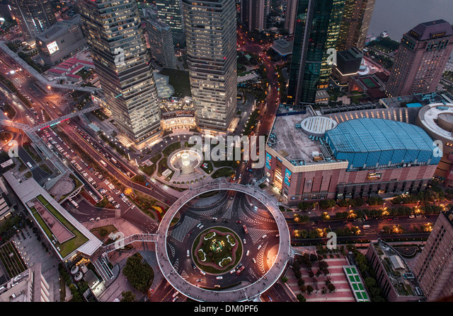 Cityscape, view of IFC, SWFC, Shanghai World Financial Center, Jin Mao Tower at night, Lujiazui, Pudong, Shanghai, - Stock Image