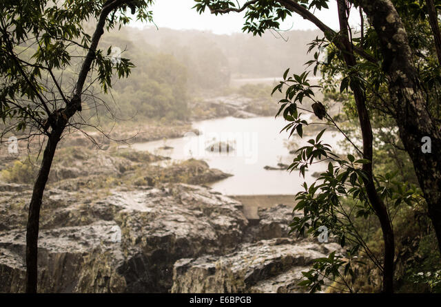 Edge of waterfall peering through the trees of the Australian tablelands. - Stock Image