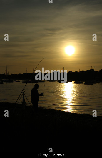 Angling on the Hamble River - Stock Image