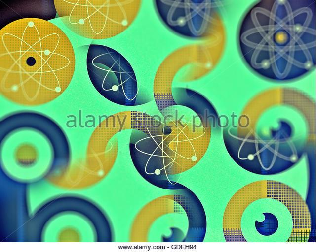 Atomic energy target retro mid century nuclear atom illustration - Stock Image