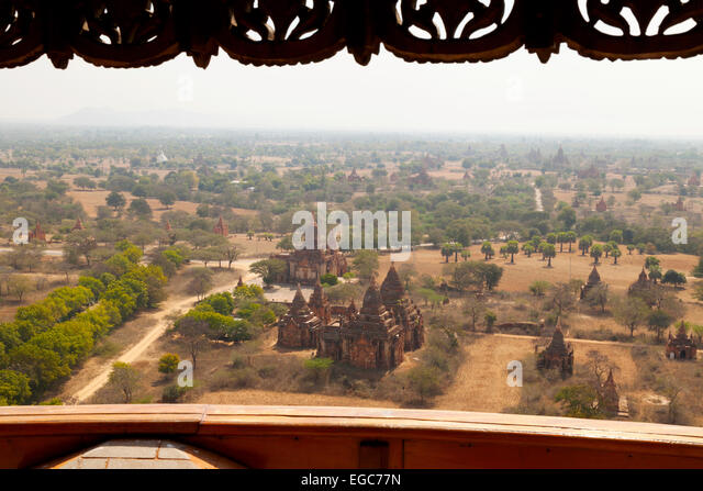 View of Bagan temples on the Bagan plain from the Bagan Viewing Tower, Bagan, Myanmar ( Burma ), Asia - Stock Image