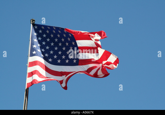 American flag in breeze - Stock Image
