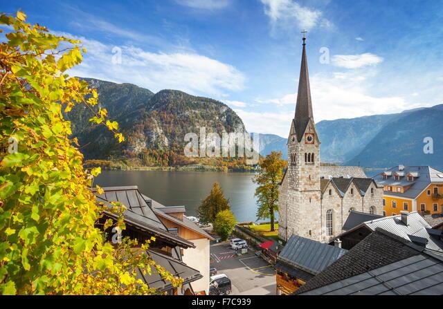 Hallstatt mountain village, Salzkammergut, Austrian Alps, Austria, UNESCO - Stock Image