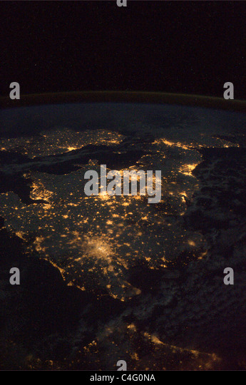 The UK and Ireland at night, seen from the International Space Station - Stock Image