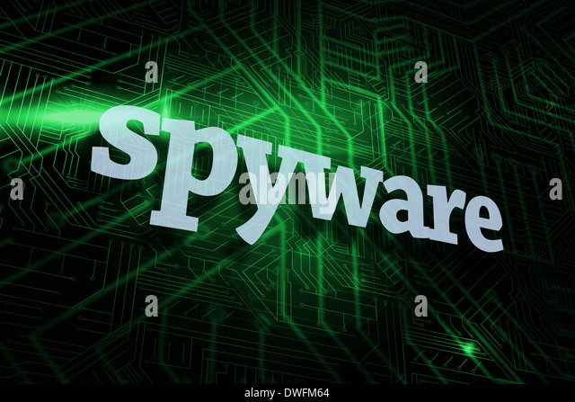 Spyware against green and black circuit board - Stock Image