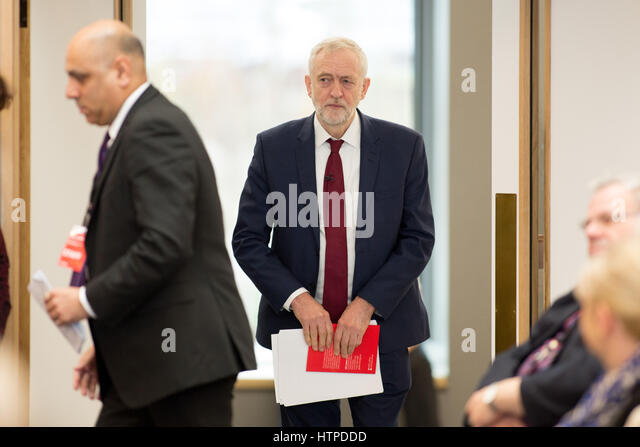 Labour Leader Jeremy Corbyn speaking at a Local Labour meeting held at Warwick University - Stock Image