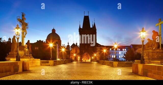 Charles Bridge, Prague Old Town, Czech Republic, UNESCO - Stock Image