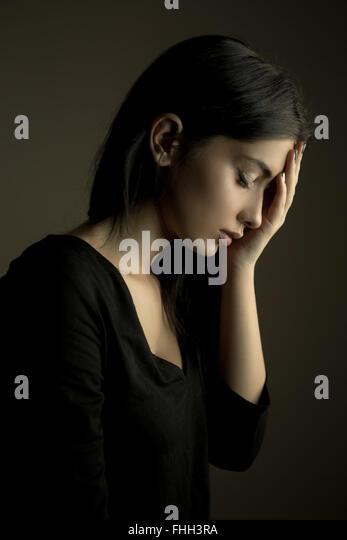 Sadness concept – depressed teen girl - Stock Image