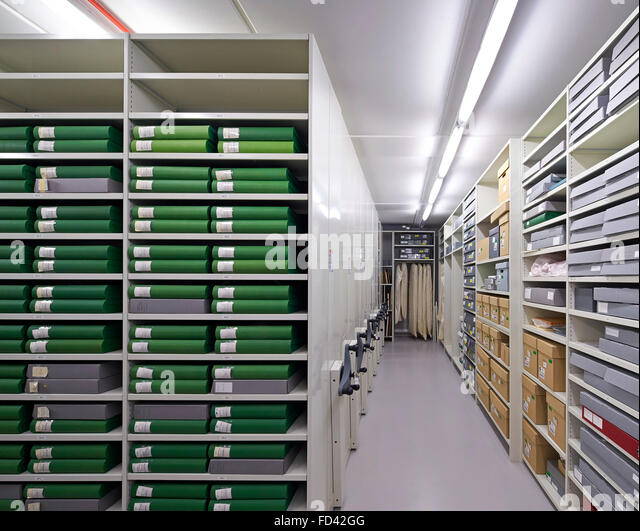 Archive volume with book and paper storage. Britten-Pears Archive, Aldeburgh, United Kingdom. Architect: Stanton - Stock Image
