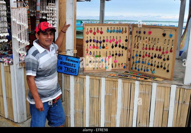 Souvenirs Vendor Wood Carvings Stock Photos & Souvenirs