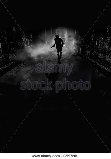 escape night Gun darkness Man escape flchten Fly cut off night night nightl - Stock-Bilder