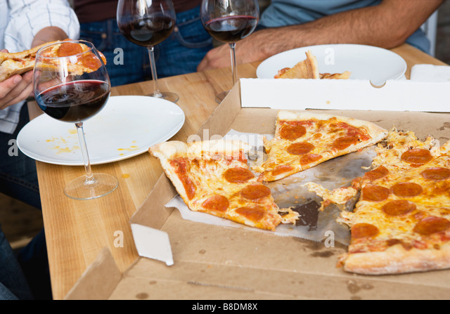 Red and white wine on table stock photos red and white for Table 5 pizza