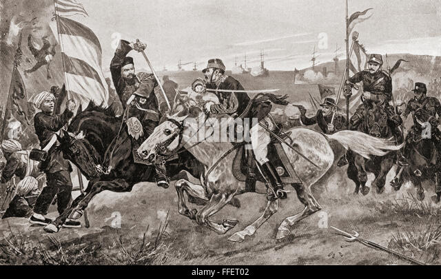 The Battle of Pyongyang, the second major land battle of the First Sino-Japanese War, 15 September 1894 in Pyongyang, - Stock Image