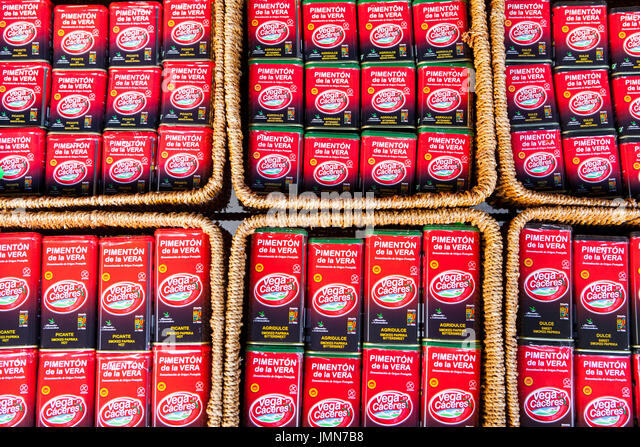 Guadalupe, Spain - february 27, 2017: Smoked paprika cans for sell. Bittersweet, hot and sweet, Caceres, Extremadura, - Stock Image