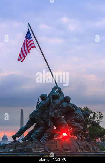 US Marine Corps War Memorial, also known as the Iwo-Jima Memorial at Arlington, Virginia, USA. - Stock Image