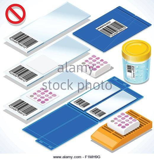 Archival Biopsy Test Kit 3D Isometric Set. Laboratory Equipment for Medical Analysis or Scientific Oncology Translational - Stock Image