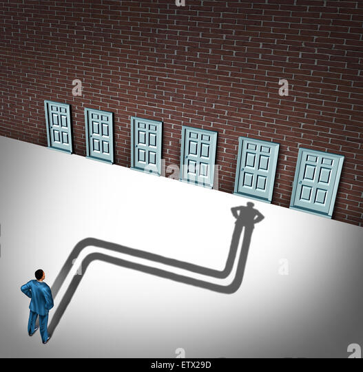 Making a choice opportunity concept as a businessman facing a group of career opportunities with his cast shadow - Stock Image