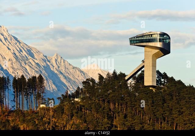 The Olympic ski jump in Innsbruck designed by Zaha Hadid - Stock-Bilder