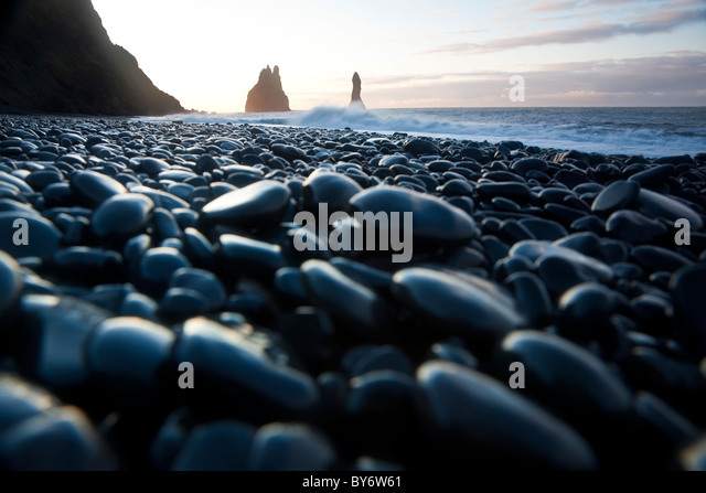 Reynisdrangar rock formations & black beach, Vik, Iceland - Stock Image