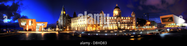 Dusk panorama of the three graces on the Liverpool dock front at the Pier Head - Stock Image