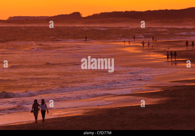 Sunset beach scene, La Paloma, Rocha, Uruguay - Stock Image
