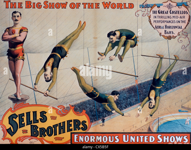 Sells Brothers Enormous United Shows Poster, The Great Costellos in Thrilling Mid-Air Performances on the Aerial - Stock-Bilder