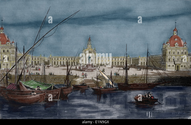 Portugal. Lisbon. Commerce Square. View the statue of King Jose I and the arch. Engraving. Later colouration. - Stock Image