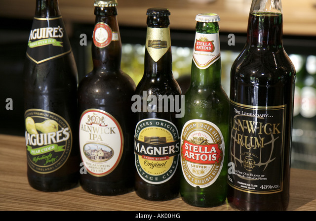 Alnwick England UK The Alnwick Garden Treehouse Restaurant bar beer alcohol bottles - Stock Image