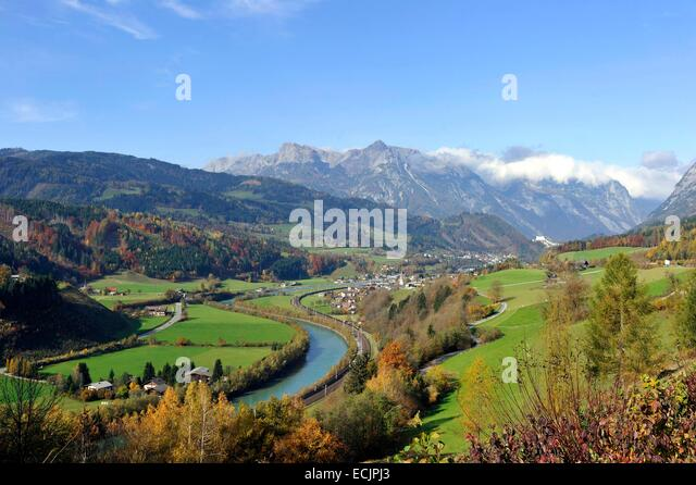 Austria, Salzburg Land, Carinthia, Fusch, Fuschertal Valley and Hohe Tauern Massif - Stock Image