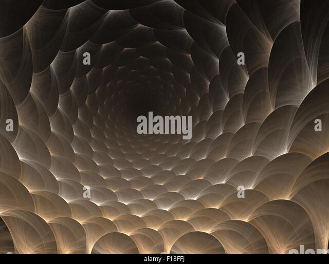 Simple fractal pattern form of round honeycomb perspective - Stock Image