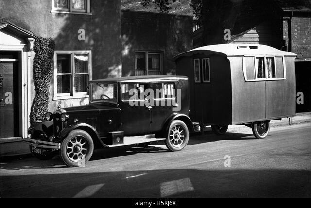 Rover 10 1926 with 1927 Lady Nimble caravan - Stock Image