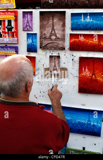 Painter at the Place du Tertre, Montmartre, Paris, France, Europe - Stock Image