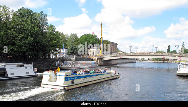 Pleasure boat craft on the Spree river, Berlin,Germany - Stock Image